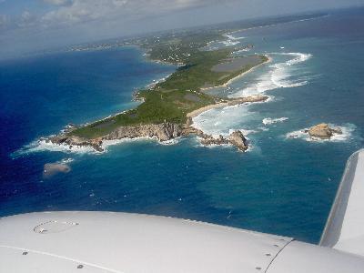 Pointe des chateaux de Guadeloupe vue d'avion