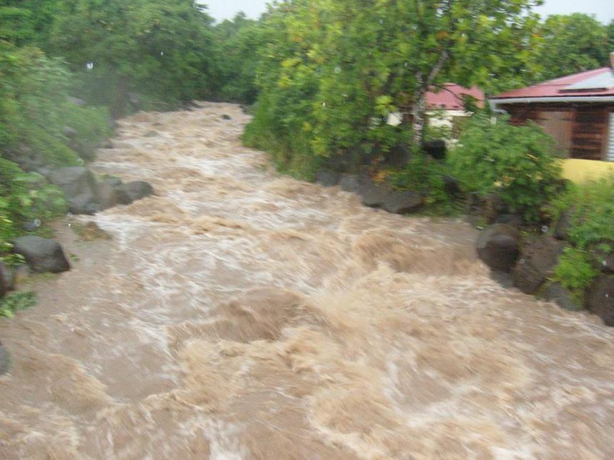 La rivière Bourseau débordante