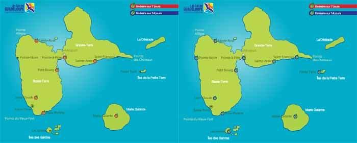 Itineraire conseillé de l'office du tourisme de Guadeloupe