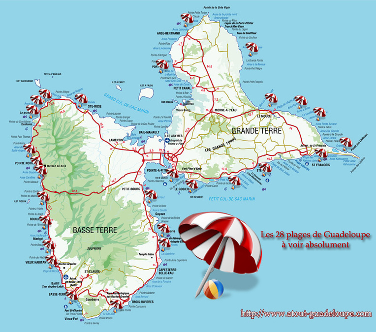 guadeloupe carte des plages - Photo