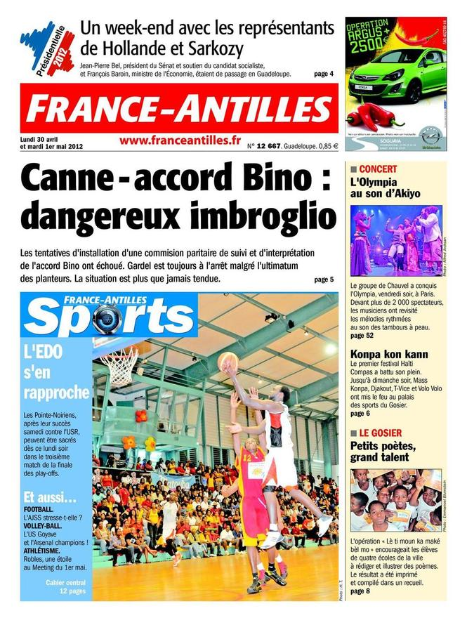 Une de France Antilles du 30 avril 2012