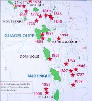 Carte des seismes en Caraïbe