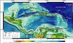 carte de l'arc volcanique des antilles