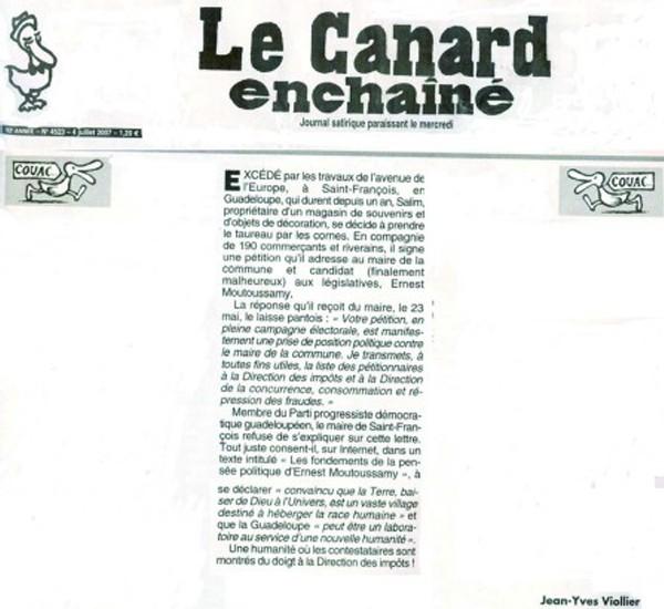 Canard enchainé du 07 juillet 2007