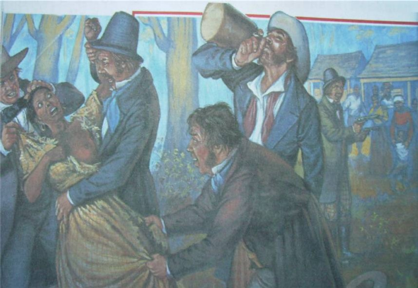 Beuverie, viol d'une esclave