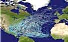 Trajectoire des phénomènes cycloniques sur l'atlantique
