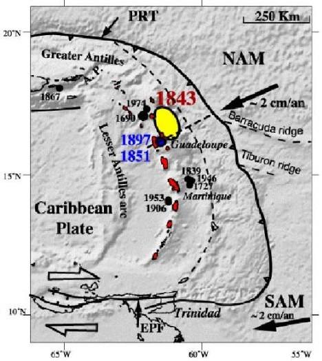 Carte sismique des Petites Antilles