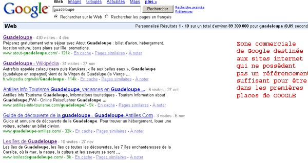Atout Guadeloupe premier sur google