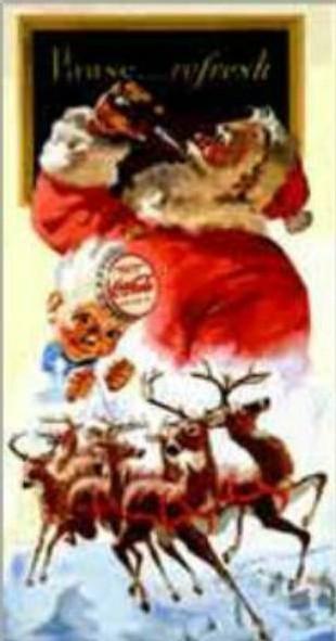 Le Père Noel, enseigne publicitaire de Coca Cola