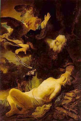 Le sacrifice d'Ismael, tableau de Rambrandt