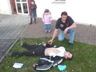 Exemple de défibrillation d'une victime. Photo CG-AUB