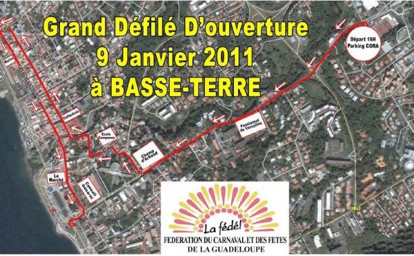 Défilé d'ouverture du Carnaval de Guadeloupe : plan et photos