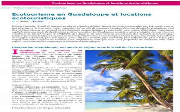 Ecotourisme en Guadeloupe, le revers de la médaille
