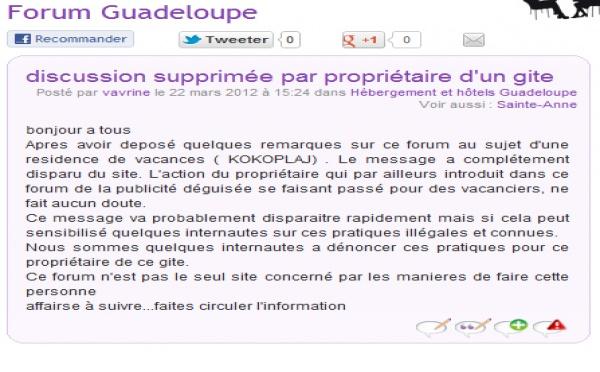 Forum routard Guadeloupe : des propriétaires de gîtes répondent à des propriétaires déguisés ....
