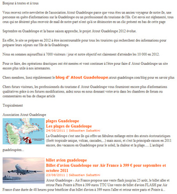 Newsletter Atout Guadeloupe Septembre 2011
