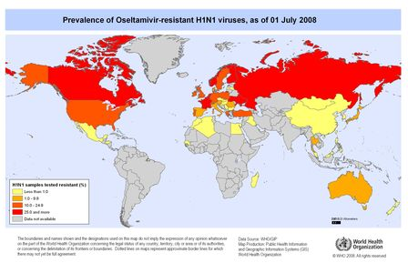 Carte mondiale infection H1N1 au 1 juillet