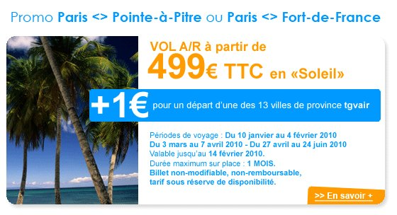 Promotion billet avion guadeloupe
