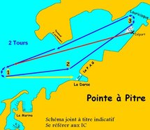 Plan d'eau du prologue de Pointe à Pitre du Tour de voile traditionnelle en Guadeloupe 2010